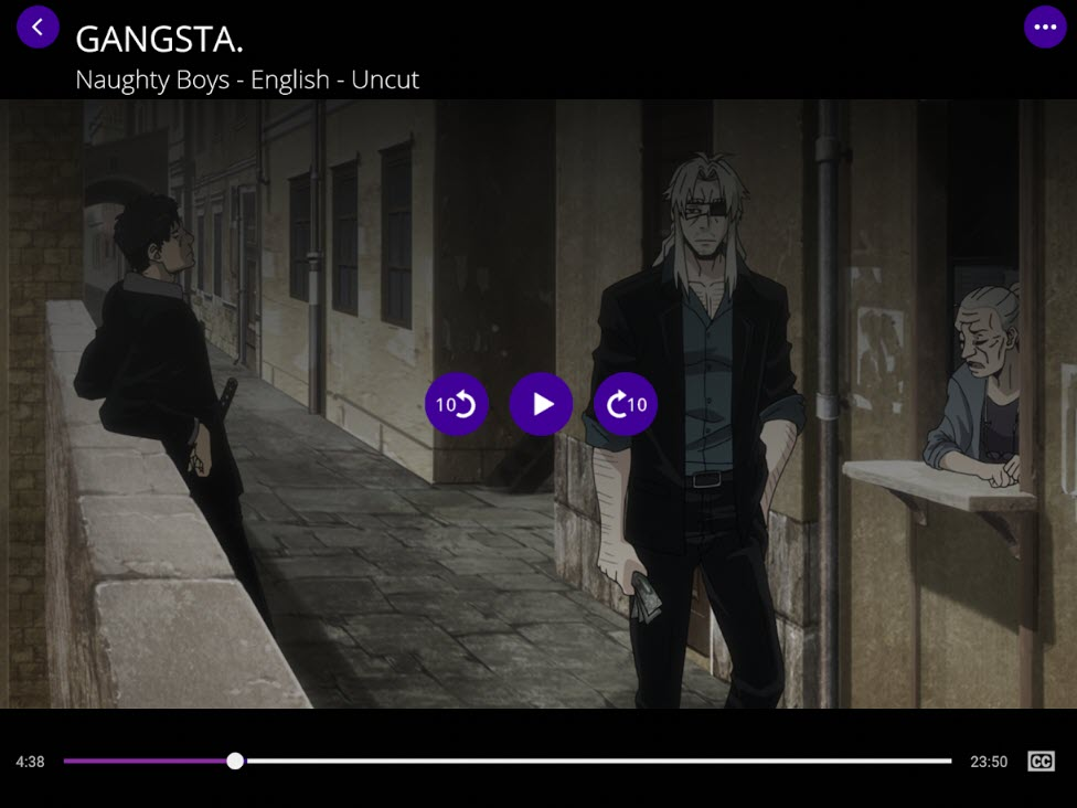 Playing Gangsta Anime in FunimationNow Player